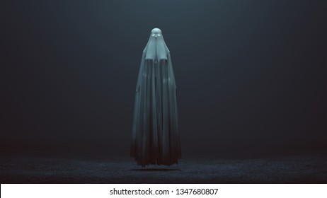 Floating Evil Spirit with Glowing Eyes in a Long Death Shroud in a foggy void 3d Illustration 3d Rendering