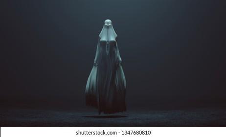 Floating-Böse Geist mit leuchtenden Augen in einem langen, tödlichen Verkleidung, die in der Wind weht in einem nebligen, nichtselbstenden 3D-Illustration 3d Rendering