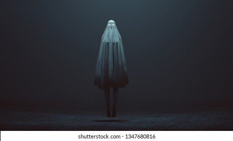 Floating Evil Spirit with Glowing Eyes in a Short Death Shroud with Her Legs Showing in a foggy void 3d Illustration 3d Rendering