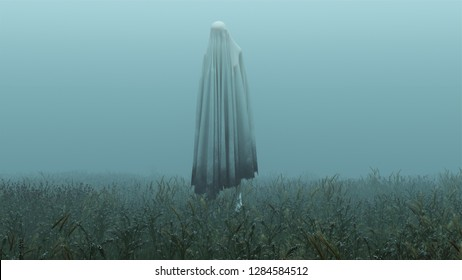 Floating Evil Spirit in a Grassy Field on a Foggy Day 3d Illustration 3d Rendering