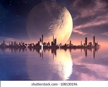 Floating Futuristic Cities in Alien Ocean