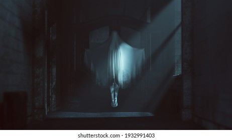 Floating Ghost Evil Spirit Arms Out Stretched in a Derelict Asylum Hospital 3d Illustration