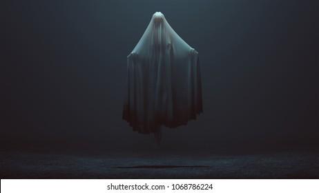 Floating Ghost Evil Spirit in a foggy void 3d Illustration