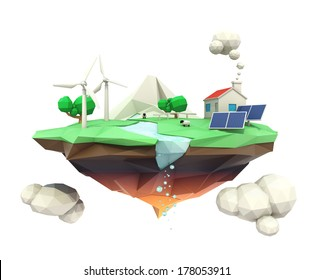 Floating island and house support by solar and wind power