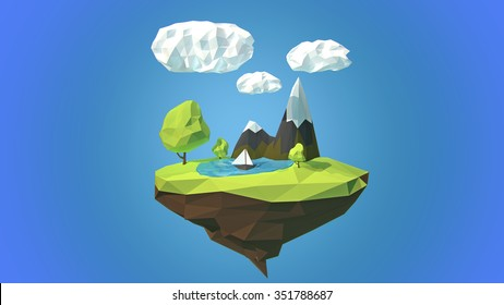 Floating island with mountain and clouds in the sky