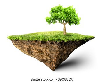 floating island with tree 3D illustration