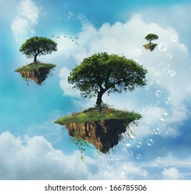 Floating islands with trees in the sky