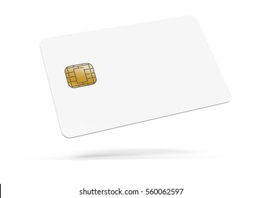floating left tilt blank chip card, which can be designed in any way, isolated white background, 3d rendering