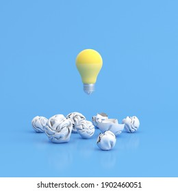Floating light bulb among crumpled paper on blue background, 3d rendering.