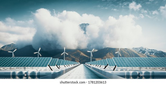 Floating solar power plant and offshore wind  turbine farm with majestic mountain background. 3d rendering