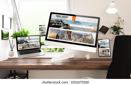 floating stuff and devices with travel agency responsive website at home office 3d rendering