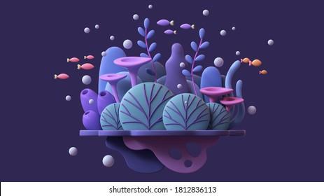 Floating underwater island with turquoise coral reef, blue seaweeds, algae, purple sponges, orange red fishes. Cartoon marine landscape tropical colorful plants. Ocean bottom nature. 3d illustration