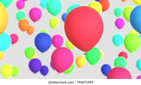Floating vibrantly colored Balloons on a light background. This image is a 3d render and features a shallow depth of field.