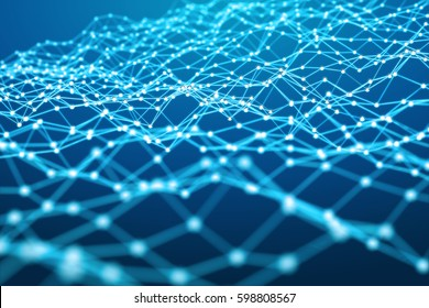 Floating white and blue dot network on blue background 3D rendering