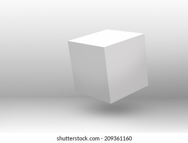 Floating white cube in a white empty room. Clip art and illustration. Made with adobe photoshop CS6