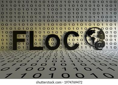 FLoC concept text sunlight 3D illustration