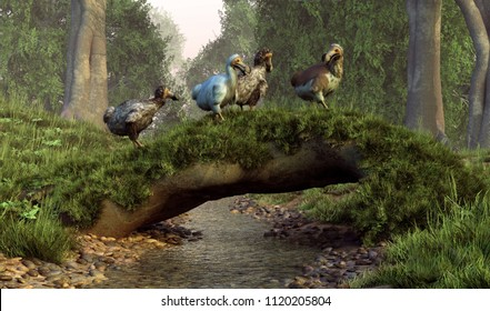 A flock of dodo birds waddles over a natural log bridge that has fallen over a stream and grown mossy.  The now extinct animals once inhabited the island of Mauritia. 3D Rendering