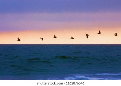 A flock of pelicans are flying over the Atlantic Ocean at Pawleys Island South Carolina. This is computer generated art from a photograph.