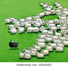 a flock that is seen from above with one black sheep funny illustration allegory of coexistence