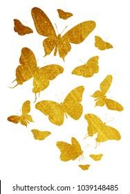 Flock of vintage butterflies on white