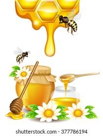 flocked buckwheat honey honeycomb dripping old stock vector royalty