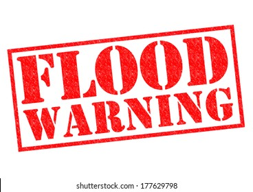 FLOOD WARNING red Rubber Stamp over a white background.
