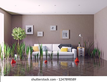 flooding living room. 3d creative concept rendering