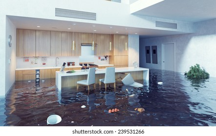 flooding in luxurious kitchen interior. 3d creative illustration