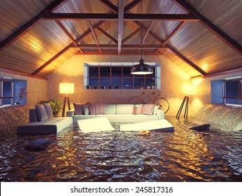 flooding  modern interior loft in the evening. 3d concept design.