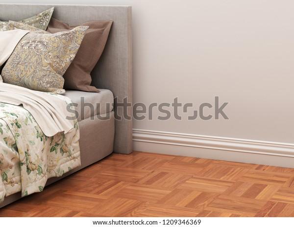 Floor Covering Floor Plinth Near Bed Stock Illustration 1209346369