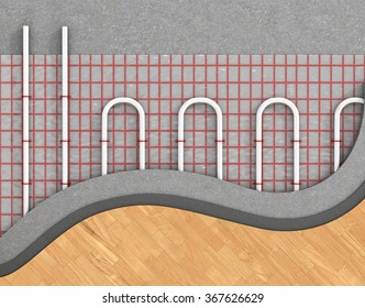 Floor heating system. We see layers of insulation for heating.