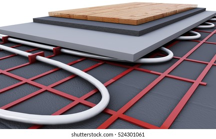 Floor heating system. We see layers of insulation for heating. 3d render