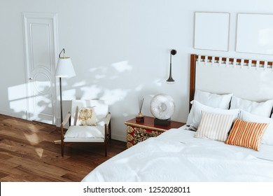 Floor Lamp on Wooden Floor in spacious Bedroom White Interior with Carpet and Gallery on Wall above Bed 3d render