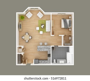 Floor plan 3D illustration