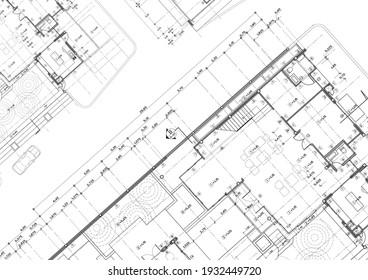 Bodenplan, konstruiert auf der Zeichnung.