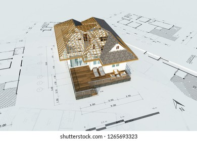 Floor plan of a house top view 3D illustration.modern building design, top view, plan,