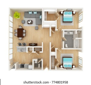 Floor plan. Floor plan of a house top view 3D illustration. Open concept living room, two bedroom layout.