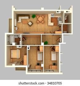 Floor plan in perspective view