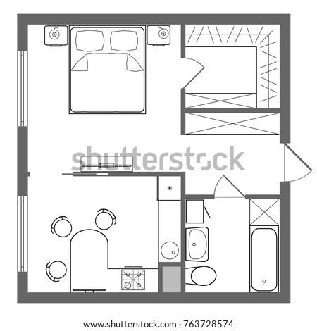 Floor Plan Studio Apartment Oneroom Apartment Stock Illustration