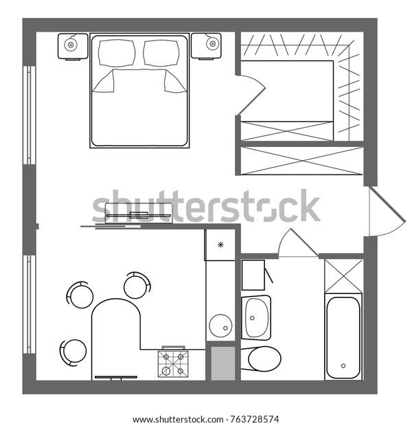Floor Plan Studio Apartment Oneroom Apartment Stock Illustration 763728574