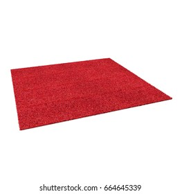 A floor red rug isolated on a white. 3D illustration
