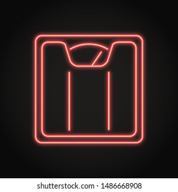 Floor scales icon in neon line style. Body weight measurement equipment symbol.