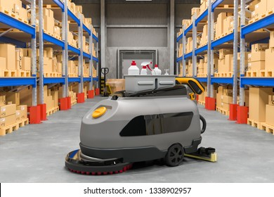 Floor Scrubber Dryer on warehouse, 3D rendering