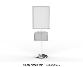 Floor standing poster display holder snap frame stand, Advertisement Sign Holder, 3d render illustration.