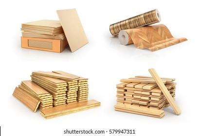 Floor types coating. Flooring Installation. Set of pieces of different floor coating. Parquet, wooden plank, tiles, vinil. 3d illustration