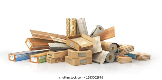 Floorboard with different texture coating. 3d illustration