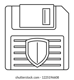 Floppy disk protected icon. Outline illustration of floppy disk protected icon for web design isolated on white background