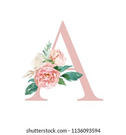 Floral Alphabet - blush / peach color letter A with flowers bouquet composition. Unique collection for wedding invites decoration and many other concept ideas.