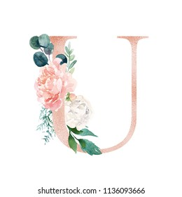 Floral Alphabet - blush / peach color letter U with flowers bouquet composition. Unique collection for wedding invites decoration and many other concept ideas.