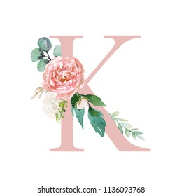 Floral Alphabet - blush / peach color letter K with flowers bouquet composition. Unique collection for wedding invites decoration and many other concept ideas.